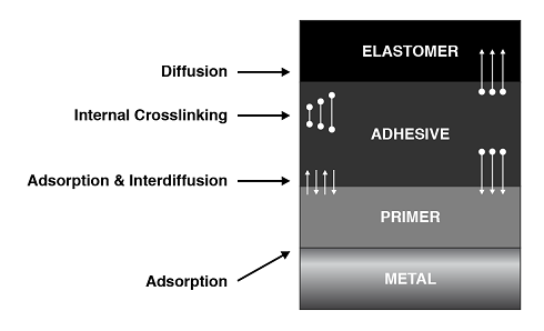 Layers of the components within the Rubber-to-Metal bonded assembly