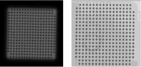 Figure 11: CSAM and X-ray images of the full-area-array flip chip with CoolTherm ME-541 underfill