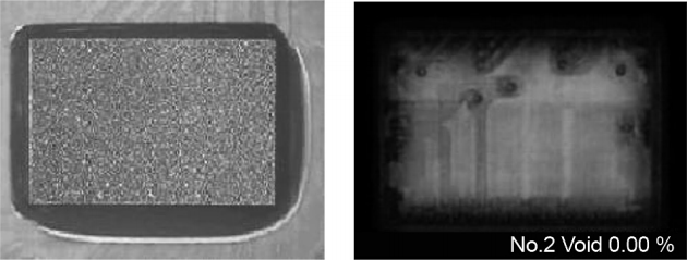 Figure 12: Optical and X-ray images of a flip chip device underfilled by CoolTherm ME-542 thermally conductive underfill