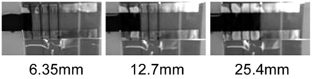Figure 5: Flow front as underfill advances up to 25.4 mm under 50 μm gap at 90°C