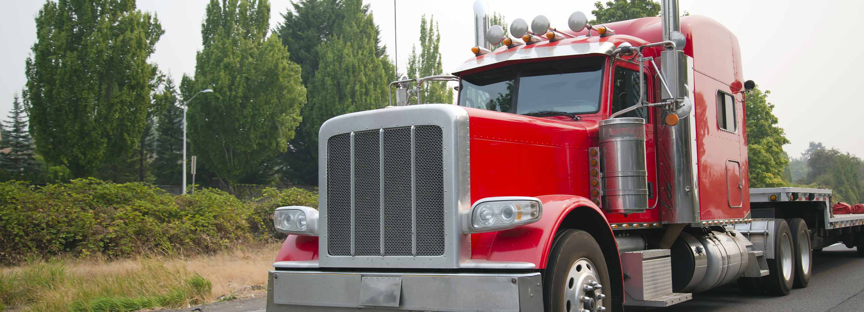 Red Cab Tractor Trailer with Flat bed