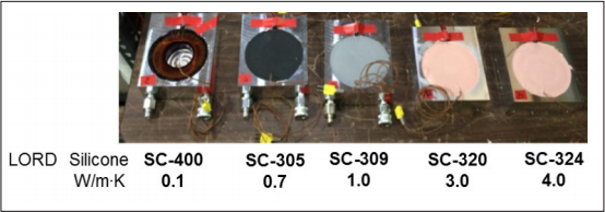 Figure 2: Inductors potted in aluminum cooling plates with each of the LORD potting materials.
