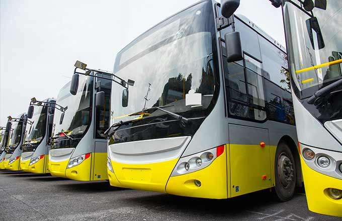 row of electric buses