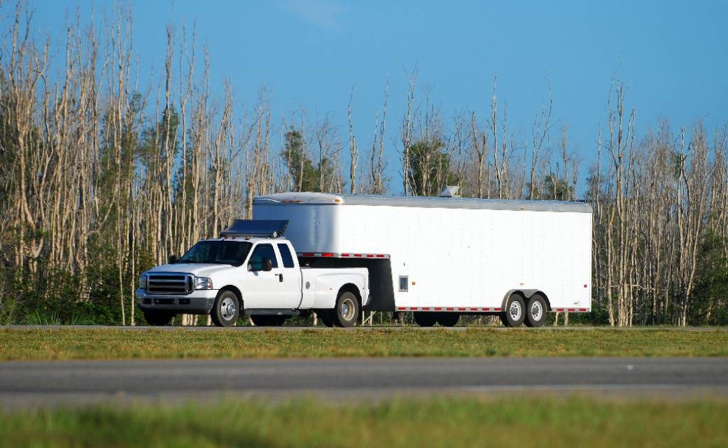 White Trailer with Adhesives
