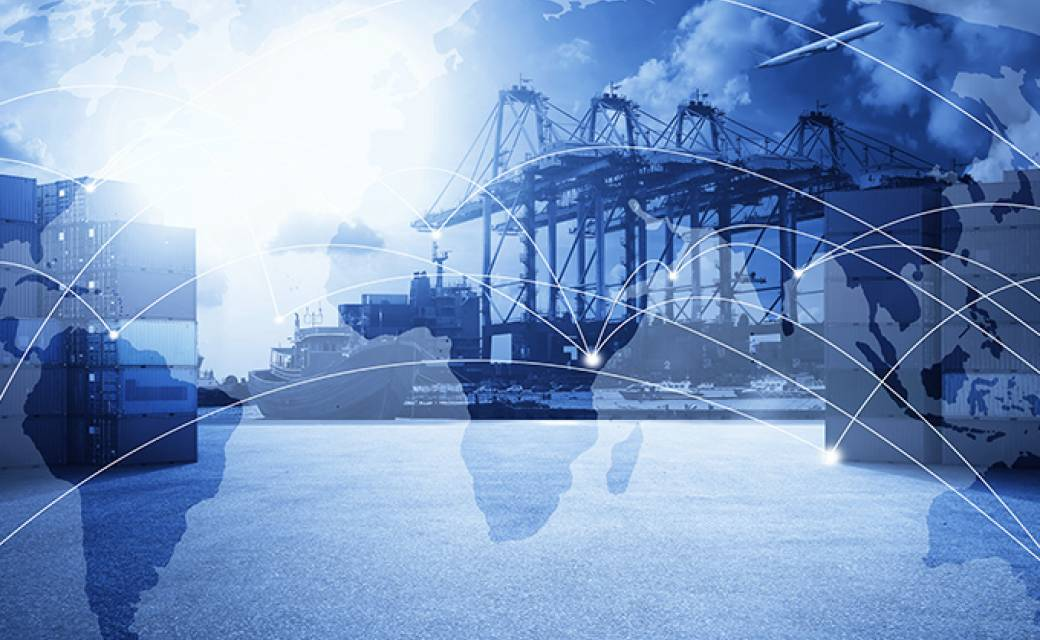 world with connecting dots for supply chain