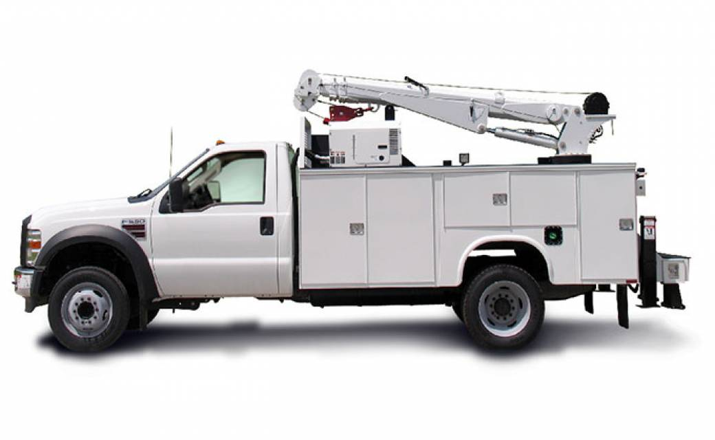 white boom truck or white bucket truck